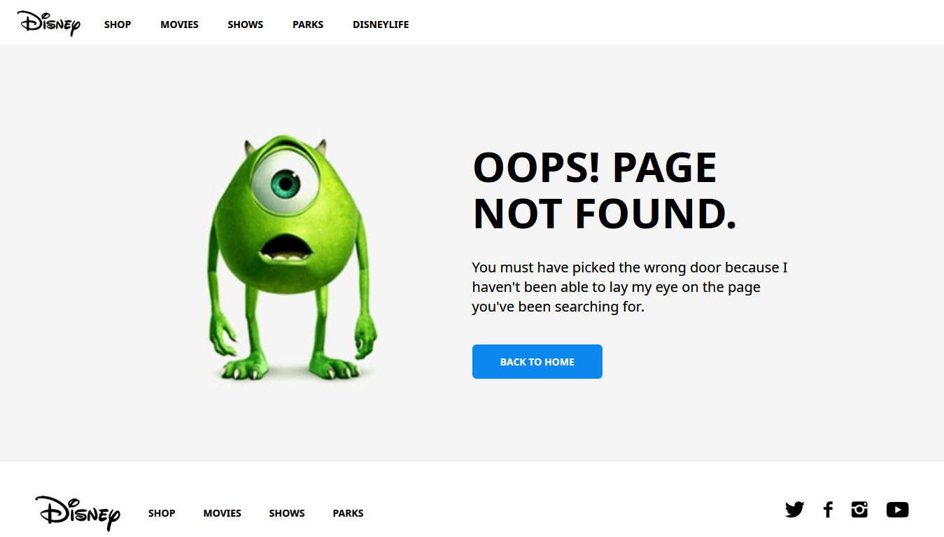 This is an example of a 404 page from Disney's site