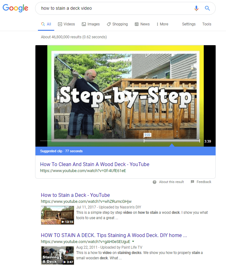 This how google shows a video search