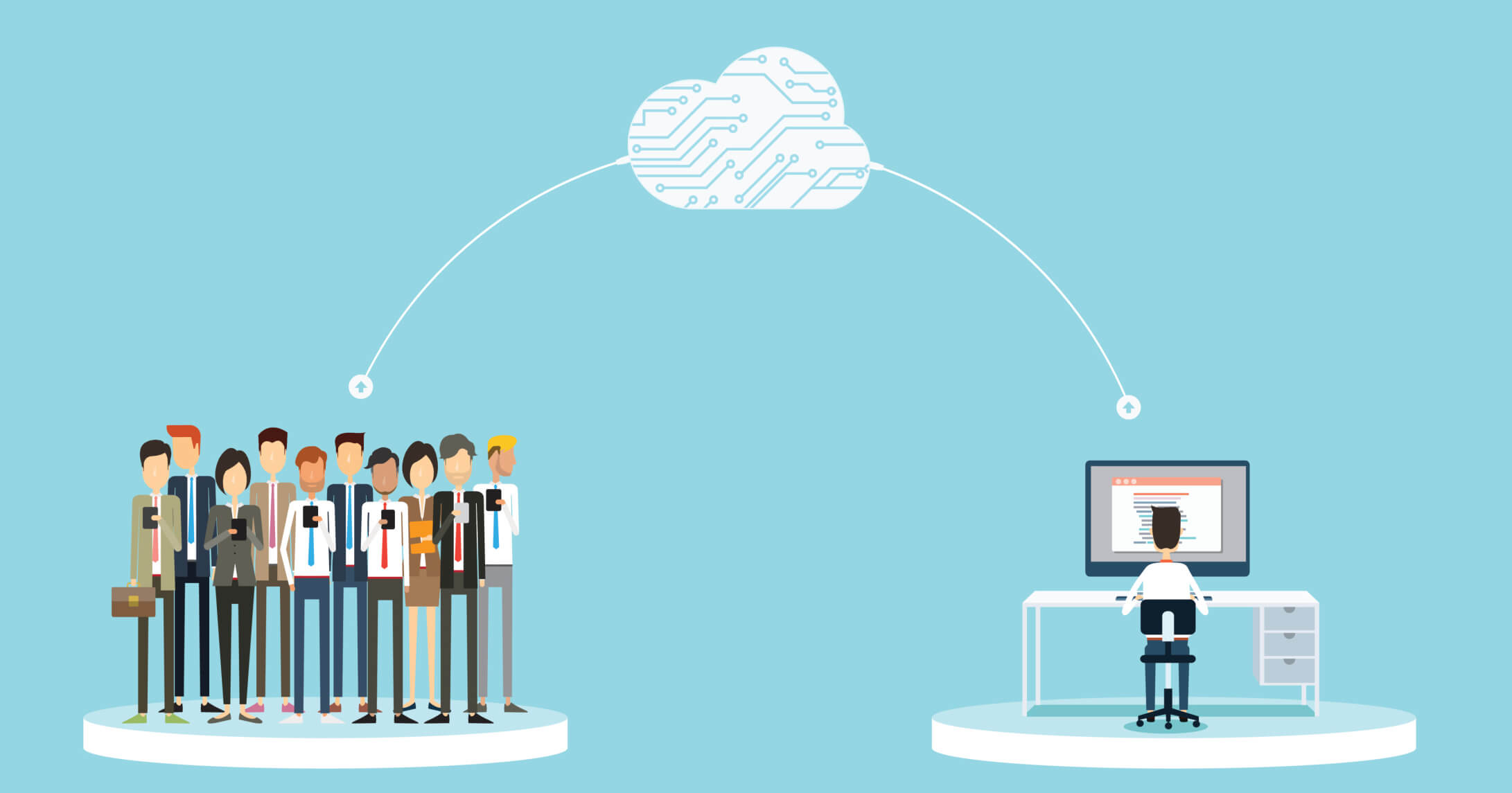 business connection to people on cloud concept