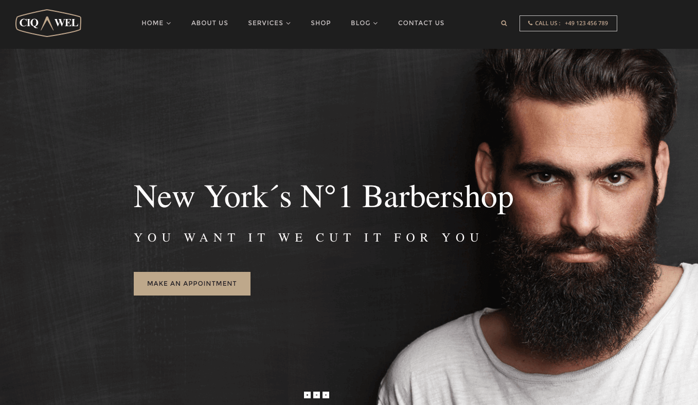 WordPress Theme Showcase: Ciqawel Barbershop Theme